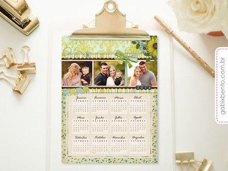 Calendários 2016 - Coleção ScrapBook, personalizado, fotos, imã, geladeira, magnético, decor, exclusivo,