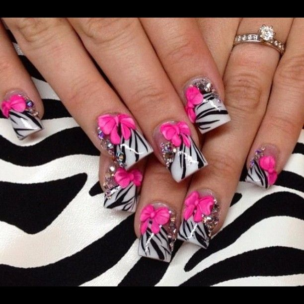 zebra nails with 3-D pink bow supes cute