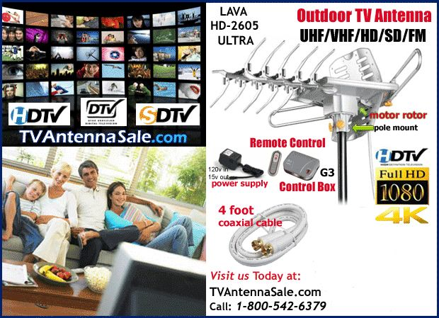 The LAVA HD-2605 ULTRA with a 36dB Gain and a 150 mile range will deliver a strong, solid signal. Order the outdoor UHF/VHF TV Antenna for clear channels.