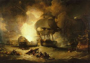 On a choppy sea, a large warship burns out of control. The central ship is flanked by two other largely undamaged ships. In the foreground two small boats full of men row between floating wreckage to which men are clinging.