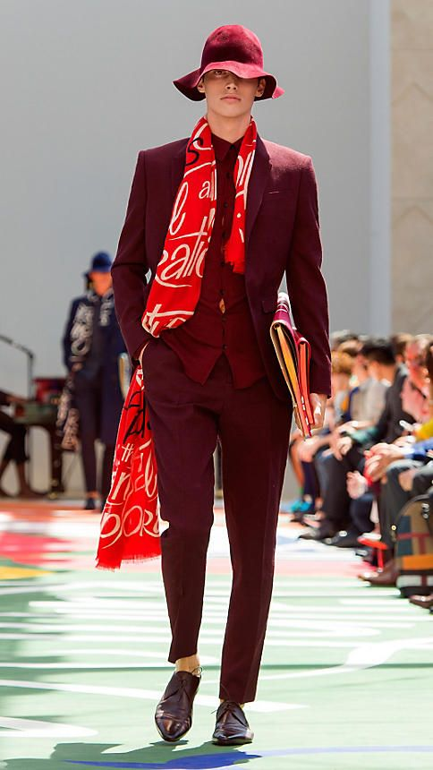 Orange red print Typographic Print Cashmere Scarf From Burberry.