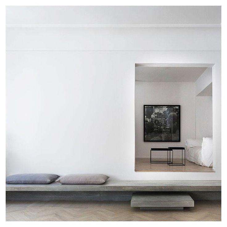 Richard Lindvall @richardlindvall Gold and Grey apartment Stockholm #minimal #minimalist #paredback #cleanlines #concrete #concretedesign #haytable #haytraytable #whitespace #interiors #interiordesign #interiordecor #instainteriors #instainterior #richardlindvall #flooring #floor #scandinaviandesign