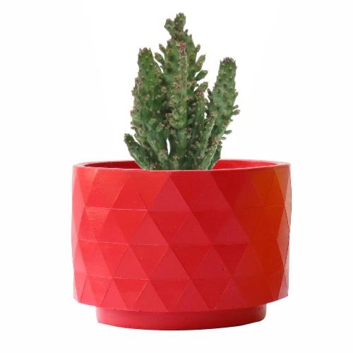 Opuntia Monacantha, con maceta Polygon roja mate, diseñada por RiiVDesign, disponible en MyCoolCactus.com; precio orientativo 19€, $23.43