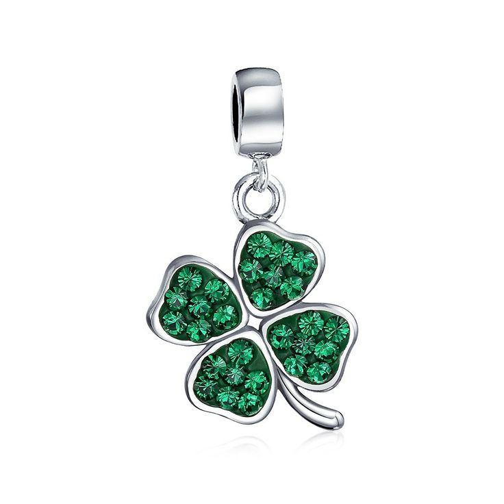 Bling Jewelry 925 Silver Green Crystal Shamrock 4 Leaf Clover Dangle Bead Charm. St. Patricks Day Pave Swarovski Crystal Four Leaf Clover Dangle Bead. Fits Pandora, Biagi, and Chamilia Charm Bead BraceletsMaterial: .925 Sterling Silver, Swarovski Crystal Measure: 22 mm L x 10 mm W, 5 mm Bead Core Weight: 1.7 Grams. Compatible with Pandora Charms, Biagi, Troll, Chamilia, European Style, Persona, Ohm, Kay's Charmed Memories and More. Fits both necklace and bracelet 3mm or smaller. The...