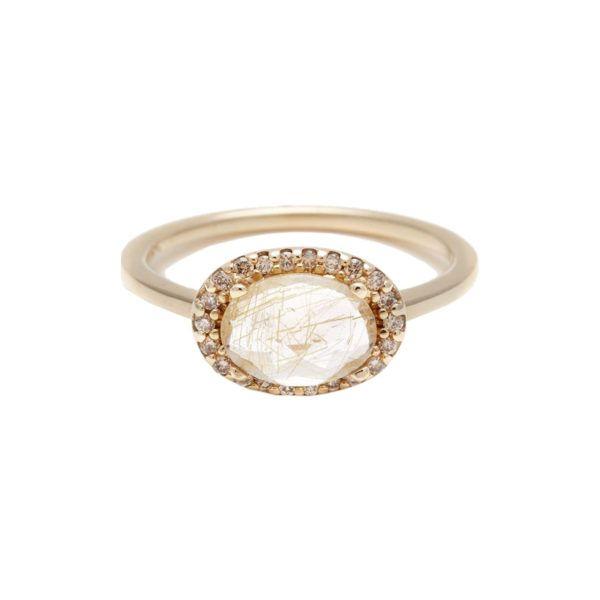 Pavé Amulet Ring - Golden Rutilated Quartz & Champagne Diamond, Anna Sheffield $1200