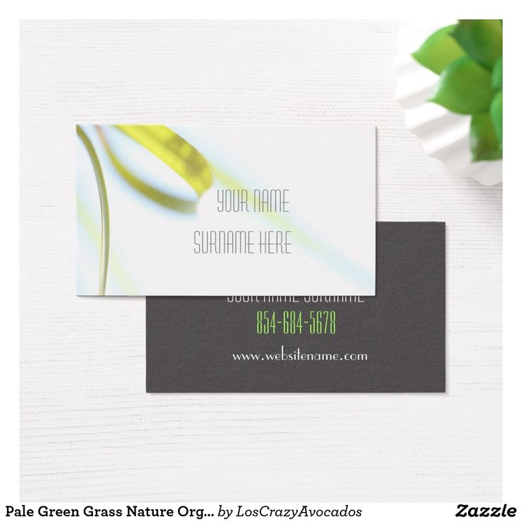 Pale Green Grass Nature Organic Feel Business Card