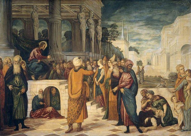 Workshop of Tintoretto 001 - Jesús y la mujer sorprendida en adulterio -