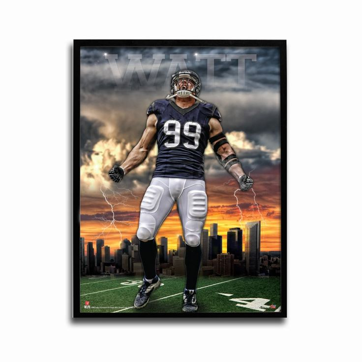 Houston Texans JJ Watt Sunset 24x18 Football Poster
