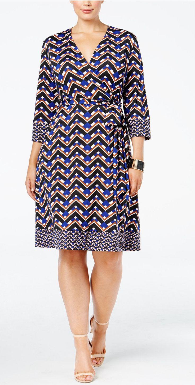Plus Size Fit & Flare Faux-Wrap Dress