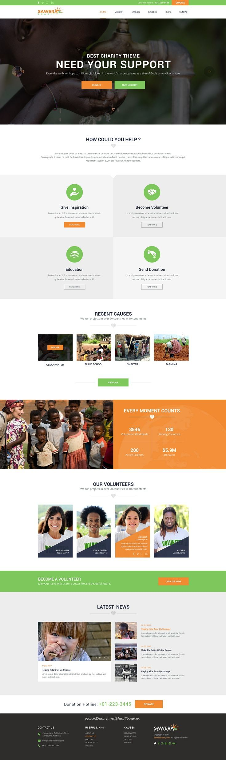 Sawera is clean and modern design #PSD template for #Charity and nonprofit organizations website with 8 layered PSD pages to live preview & download click on Visit  #charityambassador
