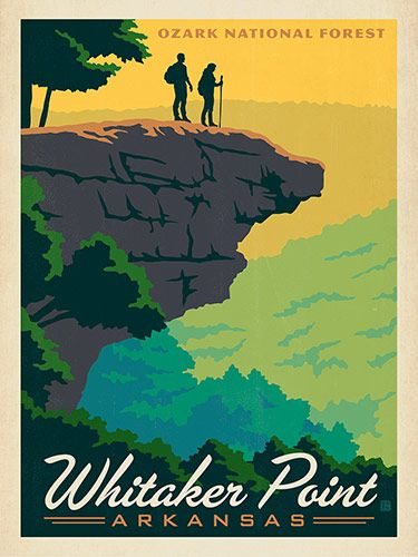 Arkansas: Whitaker Point - This print celebrates the majestic beauty of the Ozark national Forest. Printed on gallery-grade matte finished paper, this print will bring a sense of adventure to any home or office wall.