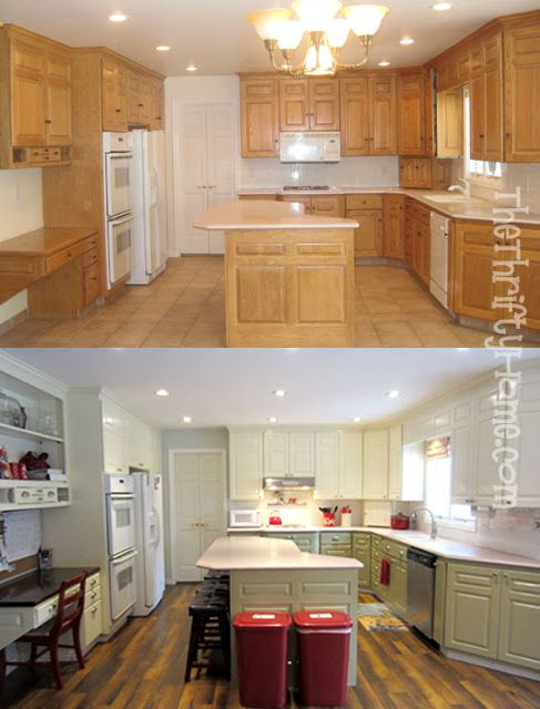 The Thrifty Home: Kitchen Remodel - Painting Cabinets using Bulls Eye 1-2-3 Primer, flat paint, and MinWax water based oil-modified polyurethane clear semi-gloss topcoat for durability.