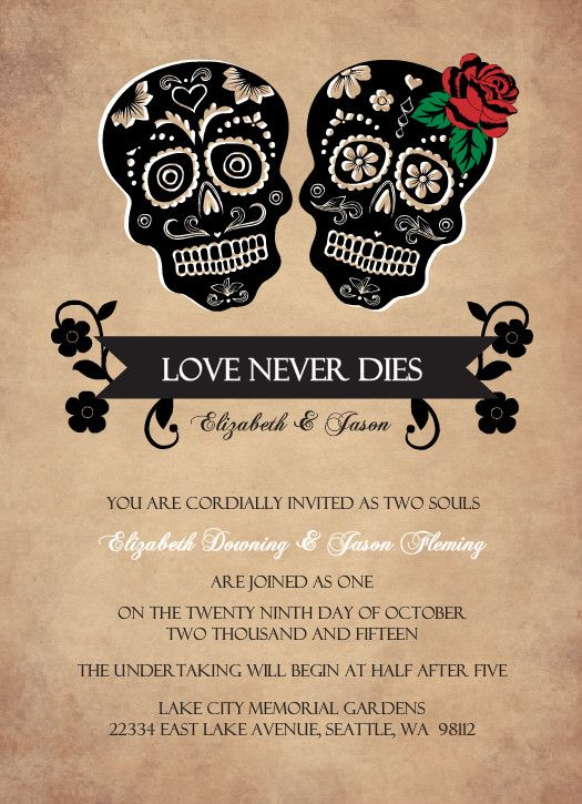 Rustic Skulls Day of the Dead Halloween Wedding Invitation This is the one!