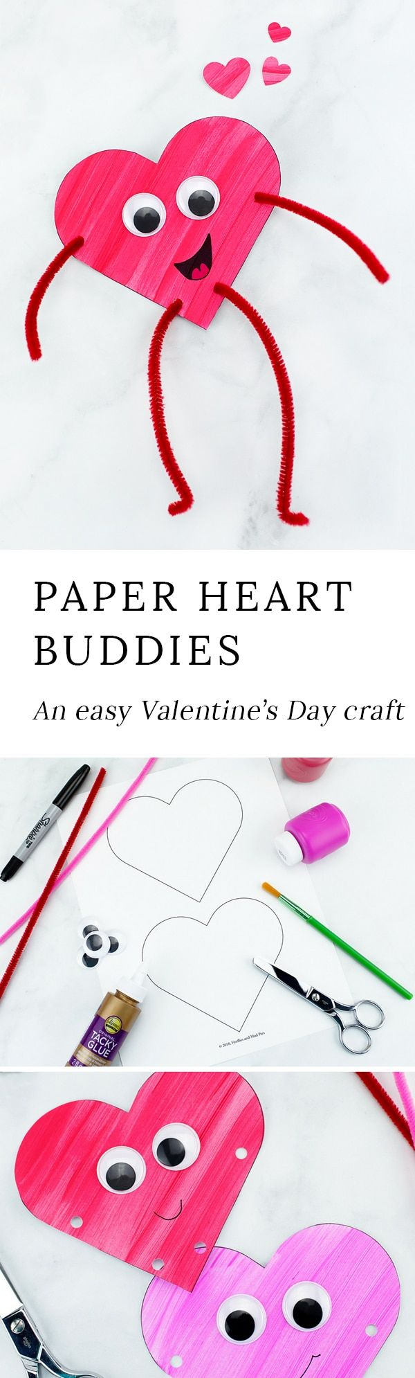 Looking for an easy Valentine's Day craft for kids? Colorful and fun Heart Buddies,made from our free template and basic craft supplies, are perfect for home or school! via @https://www.pinterest.com/fireflymudpie/