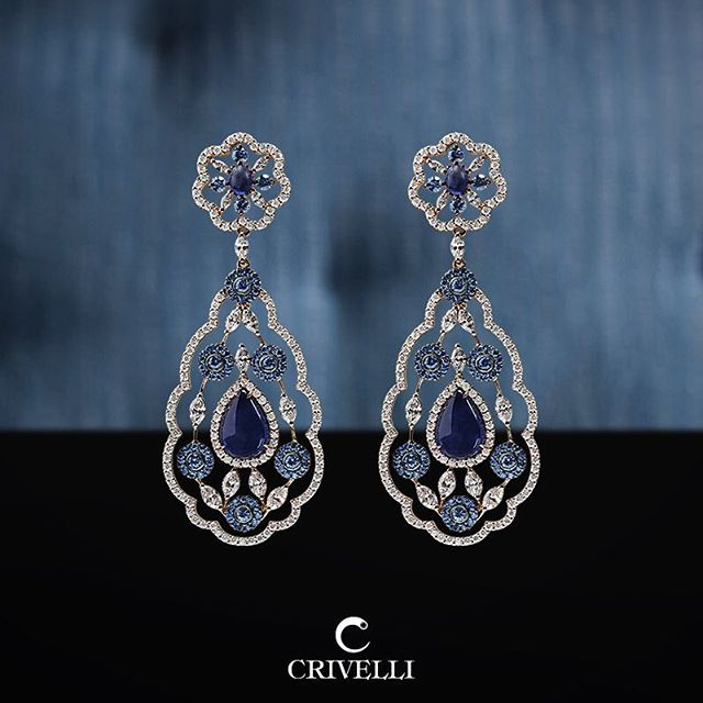 Crivelli. Through the ages, sapphires have held the meaning of royalty. Be captivated by the depth of them. #crivelli #jewels #earrings