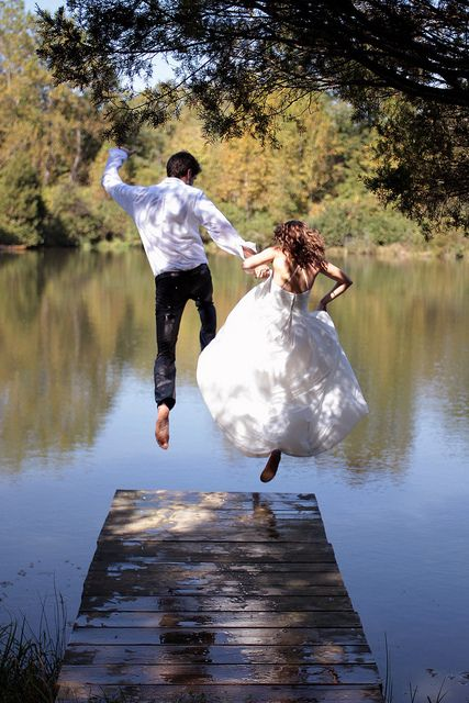 When we jump, we jump together :): Dresses Wedding, Wedding Dressses, Idea, Bride Grooms, Country Wedding, Trash The Dresses, Wedding Photo, Leap Of Faith, Wedding Pictures