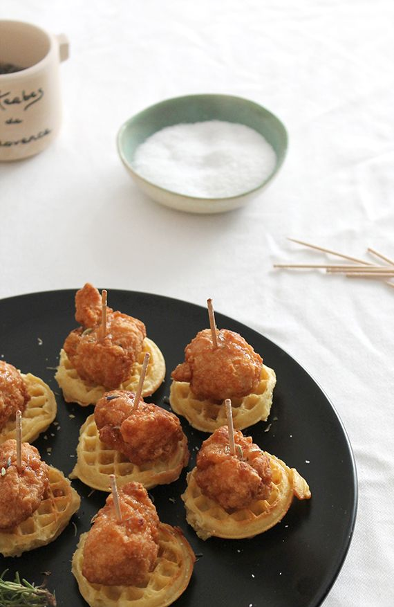 mini chicken + waffles | almost makes perfect mini chicken and waffles frozen chicken mini toaster waffles maple syrup sea salt herbs de provence toothpicks
