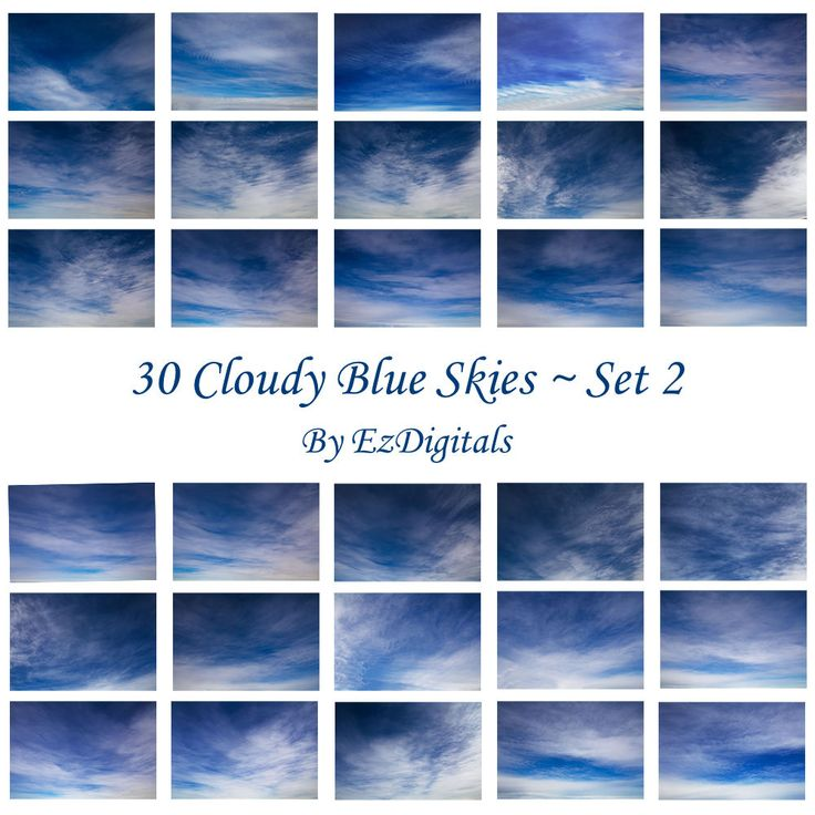 30 cloudy blue sky overlay photo replacements digital skies Set 2 by EzDigitals on Etsy