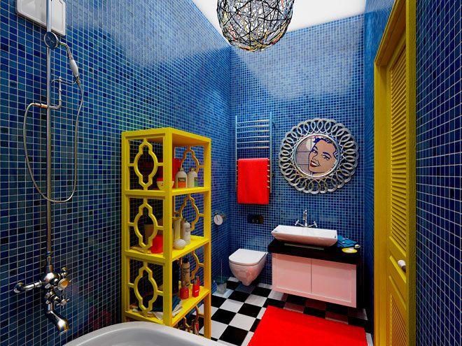 Ванная комната. Квартира для молодой пары в стиле Pop-Art - дизайн кухни в СПб