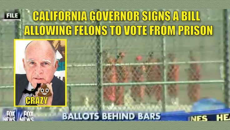 "Liberals are idiots. Despite widespread opposition from law enforcement, moron Gov. Jerry Brown on Wednesday signed a bill that will allow thousands of felons in county jails to vote in California elections as part of an effort to speed their transition back into society. Through a representative, Brown declined to comment on the bill by Assemblywoman Shirley Weber (D-San Diego), who said it would reduce the likelihood of convicts committing new crimes. So, now ""voting"" reduces crime? Where…"