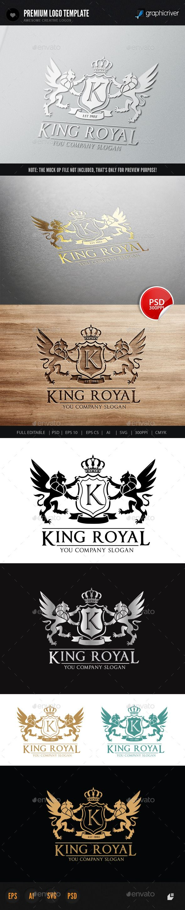 King Royal Logo II — Photoshop PSD #Animal Logo #unicorn • Available here → https://graphicriver.net/item/king-royal-logo-ii/6020985?ref=pxcr