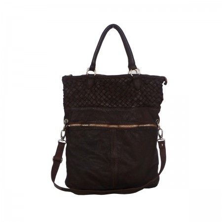 Shoulder bag Front zip and woven insert.