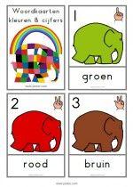 Woordkaarten Elmer - kleuren & cijfers