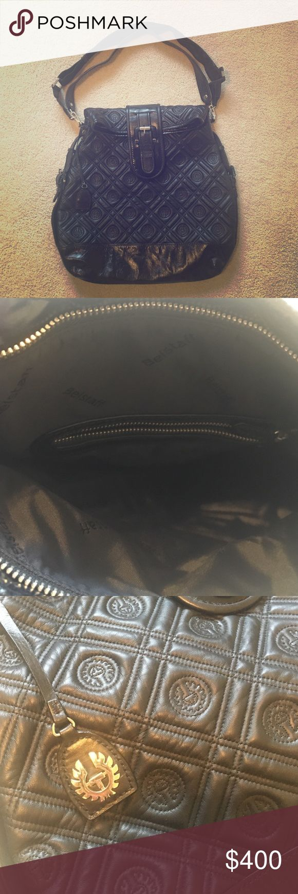 Belstaff Large Quilted Logo Bag Authentic. Comes with leather strap and adjustable nylon cross-body strap. Either strap can be removed. Silver hardware. Unique shape. Great bag for work or to use as a weekender. I actually never ended up using his bag so the liner is in perfect condition. Belstaff Bags