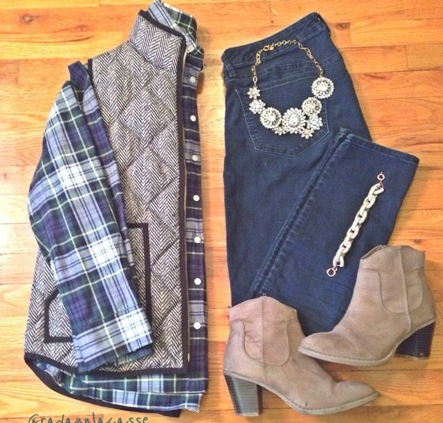 plaid, puffer vest, ankle boots, statement necklace THAT STATEMENT NECKLACE #FixedOnFall