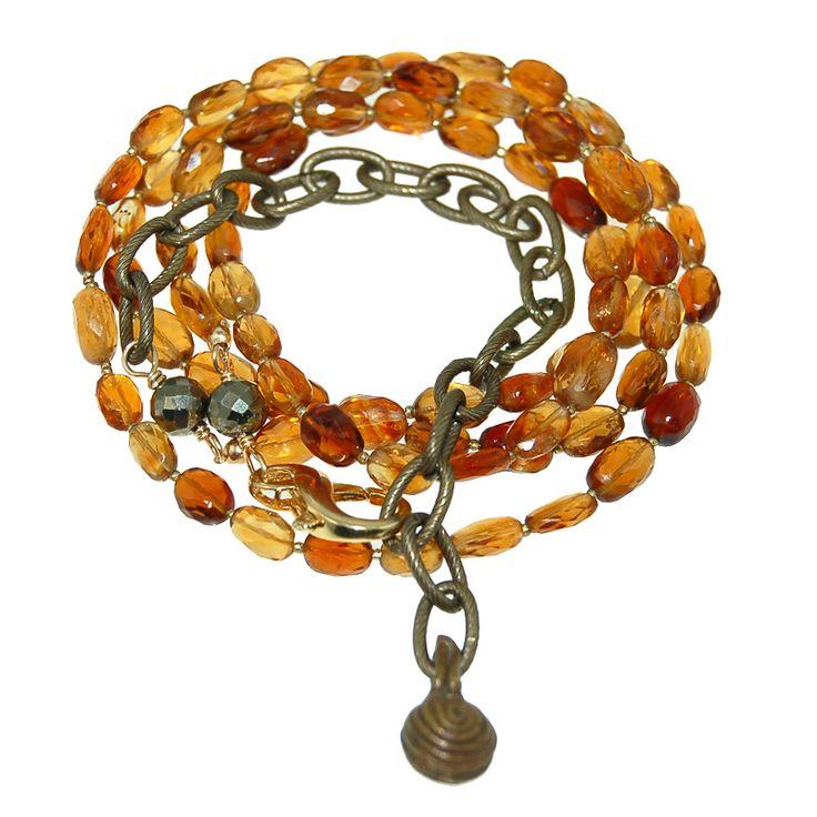 Hessonite Garnet Necklace Bracelet Combo (N1806R) $250