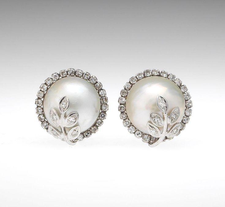 Stunning White 14 Karat Gold Mabe Pearl and Diamond Earrings