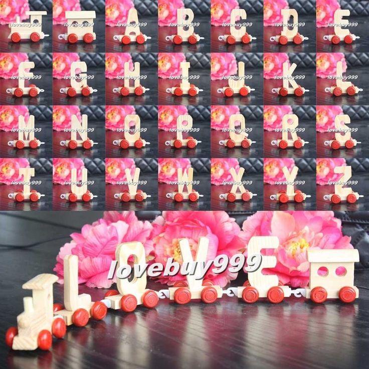 Wood Wooden Train Letter Alphabet Letter Toys Birthday Xmas Wedding Decorations #Unbranded #WeddingParty