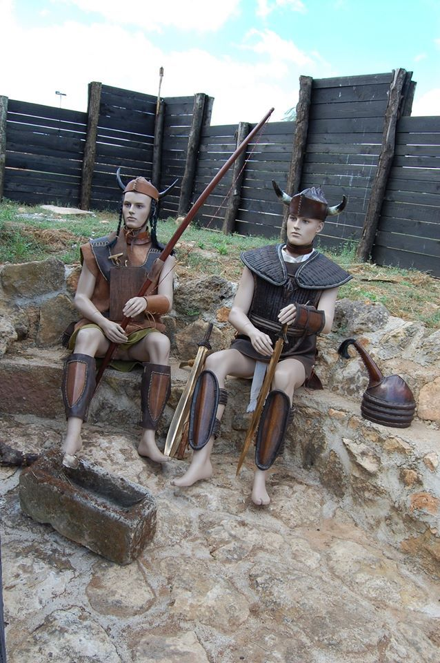 """From Sardinia near Sassari, a museum displays a reconstructed Roman Castra and these two warriors from the Nuraghic civilization. These people may have been the """"Shardana"""" or Sherden, one of the major tribes of the Sea people, who disrupted Aegean trade in the end of the 13th century BCE, and that their raids contributed greatly to the collapse of the Mycenaean civilization. http://en.wikipedia.org/wiki/Sherden"""