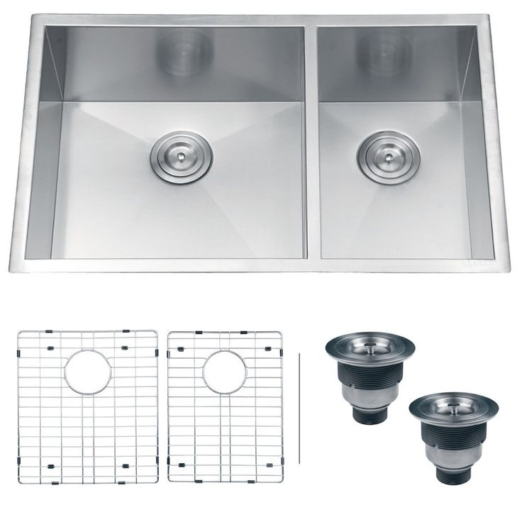 Ruvati RVH7515 Undermount 16 Gauge Kitchen Sink Double Bowl, 32, Stainless Steel