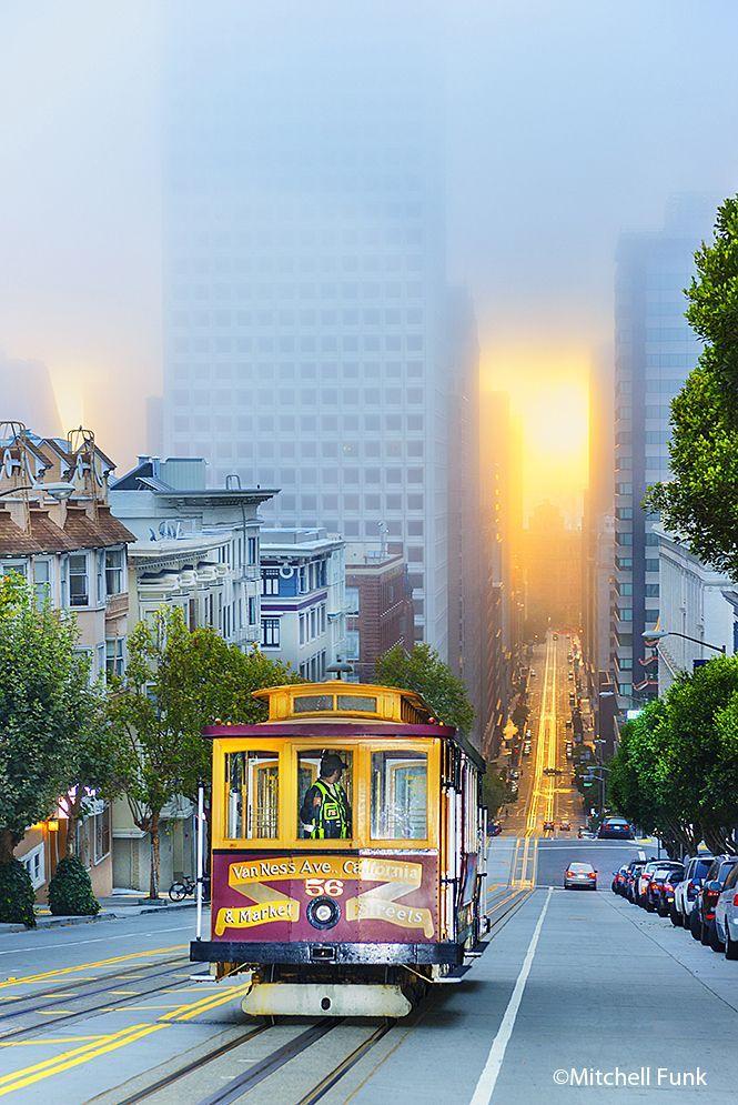 Cable Car At Dawn On California Street, San Francisco http://www.mitchellfunk.com