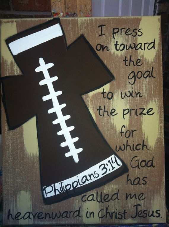 Football cross by FaithfullyFramed on Etsy, $20.00