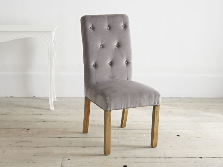 Grey Velvet High Back Dining Chairs: Modern And Stylish High Back Dining Chair, Slightly Curved
