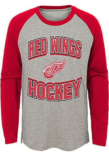 cf8c2c7aab2 Detroit Red Wings Youth Grey Assist Long Sleeve Fashion T-Shirt ...