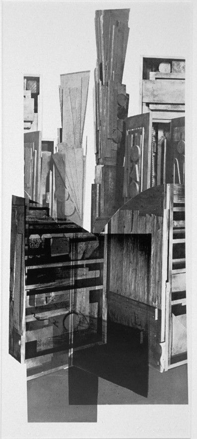 "May 16, 2016 Work of the Week Composition 1967 by Louise Nevelson. ""Composition 1967 is a photographic work that demonstrates similar qualities to the sculptures for which she is famous. The monochromatic color and collaged construction make the objects undistinguishable. Visible throughout the photograph, wood grain and composition create a sense of the depth of Nevelson's sculptural work."""