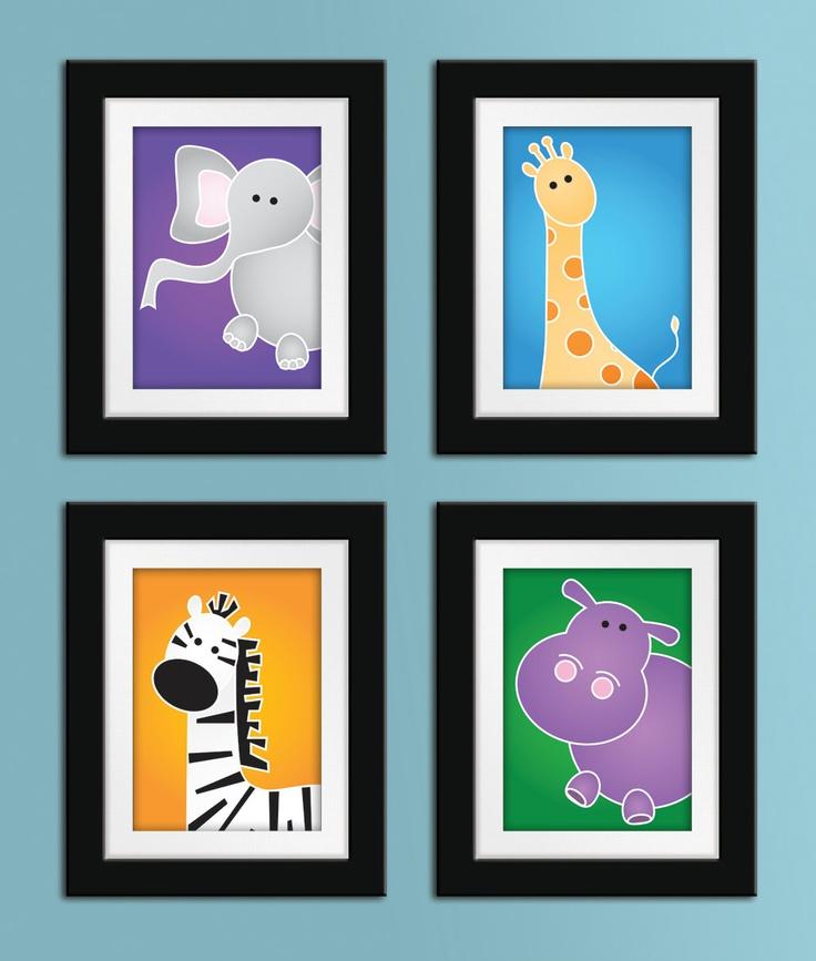 Set of Any 4 8x10 Safari Series Prints. Safari nursery art. Children's art. Kids art. Safari nursery decor. Jungle wall art.. $73.00, via Etsy.  I like these best for baby