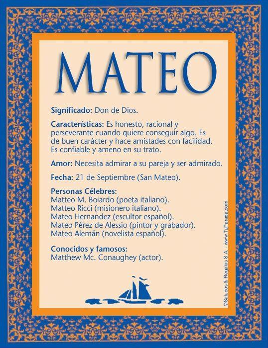 Mateo, significado de Mateo, nombre Mateo, origen y significado de Mateo…