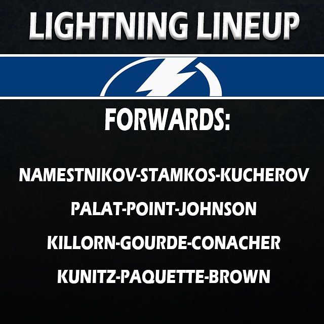 Tonights lineup!  UPDATE: Brown out Koekkoek in. Who scores first for the Bolts? #NHL #TampaBayLightning #TBLightning #GoBolts #BeTheThunder #PhiladelphiaFlyers