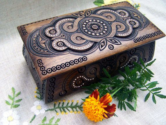 Jewelry box Ring box Carved wood box Wooden box by HappyFlying, $45.00