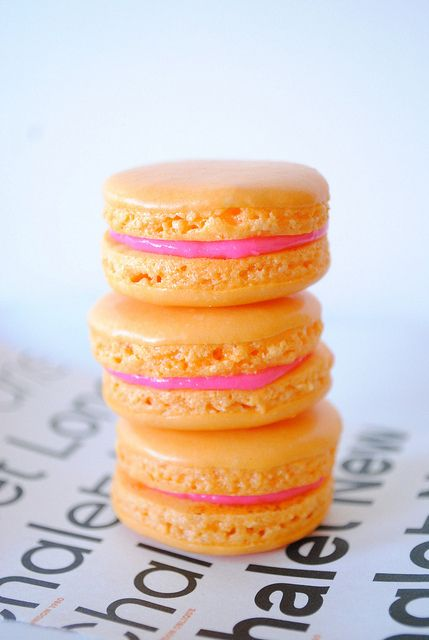 Vibrantly pretty Orange Macarons. #orange #pink #macarons #food #cooking #baking #cookies #dessert #French #pastry