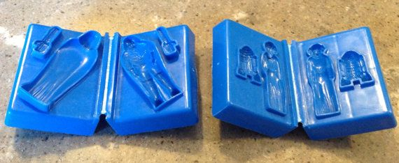 Vintage 1978 Star Wars Darth Vader Princess Leia R2D2 Toy Play Doh Play-Doh Action Playset Mold Set of 2