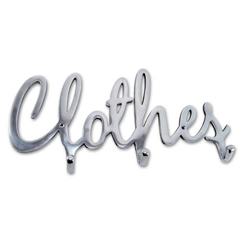 clothes word | Details about ALUMINIUM METAL WORD CLOTHES, 3 HOOK WALL RACK NEW