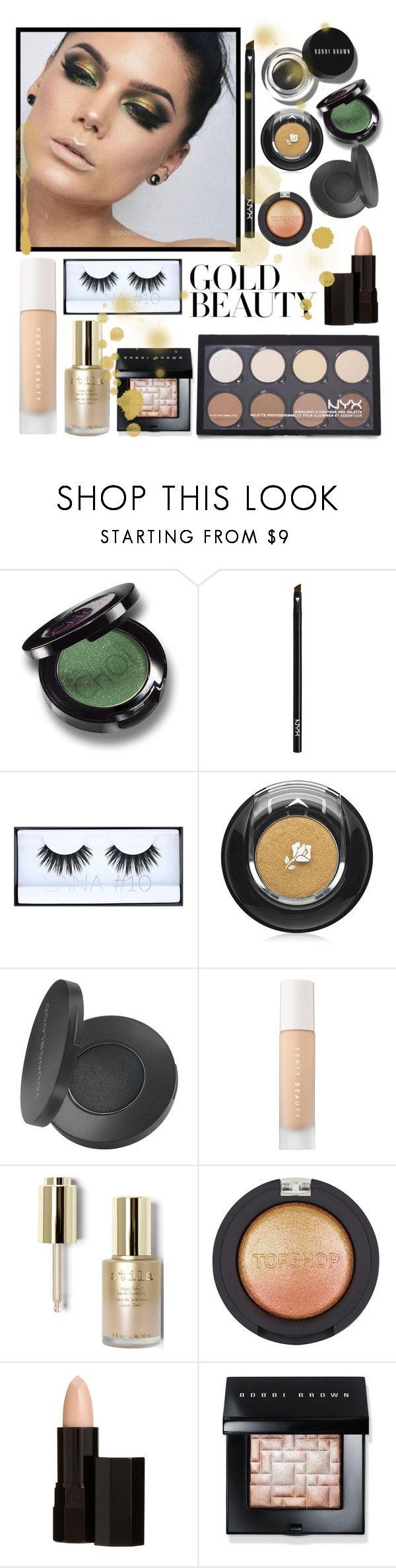 """Rockstar Gold"" by amelievia ❤ liked on Polyvore featuring beauty, Christina Choi Cosmetics, Bobbi Brown Cosmetics, NYX, Huda Beauty, Lancôme, Youngblood, Puma, Stila and Topshop"