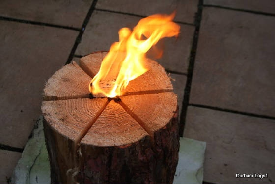 "Vertical campfire? Try our Swedish Logs Candle's - just insert a  fire lighter,few dry twigs onto the top of the log and light. A 2ft x 12"" diameter log will have a burn time of approx two hours.A great idea for campfires or driveway torches ,keep bugs at bay great for Christmas Halloween and Bonfire night."