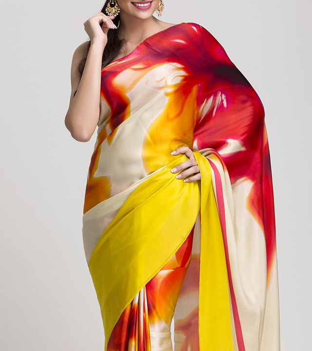 Satomi is Sophistication, Urbane, Style limited edition of premium digital printed silk sarees and silk accessories.