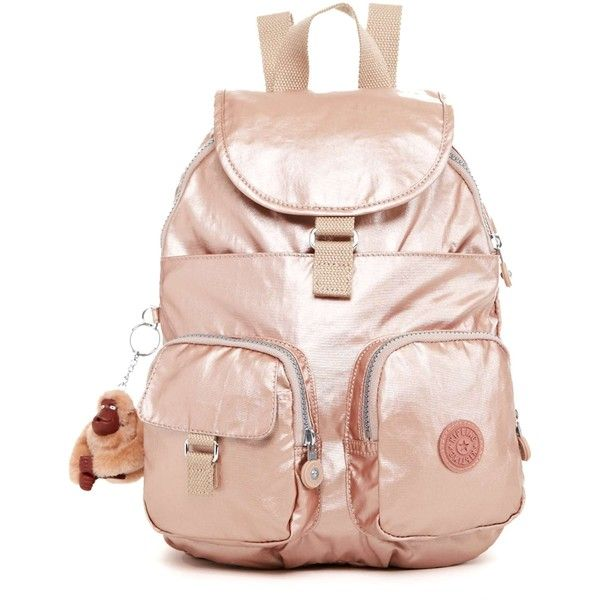 Firefly Small Backpack Rose Gold (105 CAD) ❤ liked on Polyvore featuring bags, backpacks, knapsack bags, metallic backpack, rucksack bag, pink backpack and rose gold bag